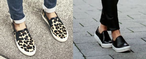 Leopard and black slip on